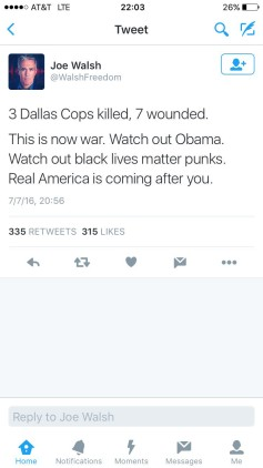 Joe Walsh racist tweet