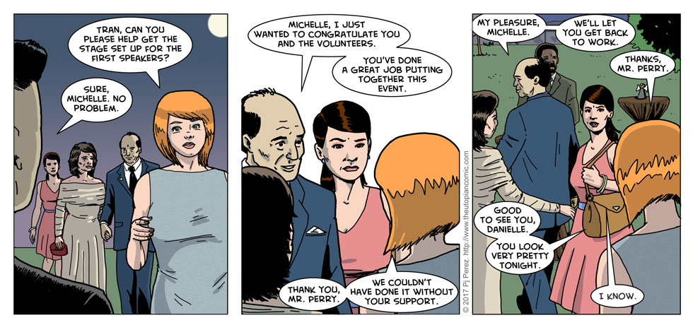 Hmm. Looks like I forgot Danielle's purse in the second panel. WHOOOOOPS.